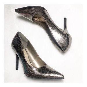 Sam & Libby Metallic Snakeskin Heels Size 9